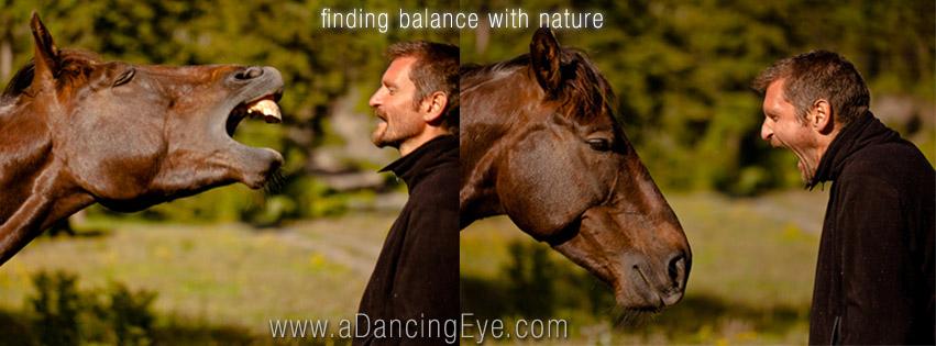 Michael horsing around.